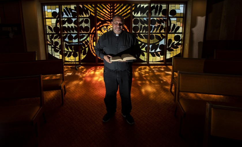 Pastor Nelson Rabell-González of St. Paul Lutheran Church, seen in this 2020 photo, is at the forefront of A New Lodi, an organization working to change what he says is the racist history of the San Joaquin town. (Gina Ferazzi / Los Angeles Times)