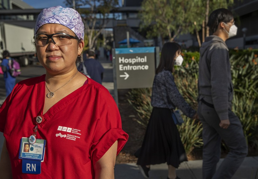 Registered nurse Tinny Abogado is seen in November 2020 at Kaiser Permanente Los Angeles Medical Center, where she has worked for more than 20 years. (Mel Melcon / Los Angeles Times)