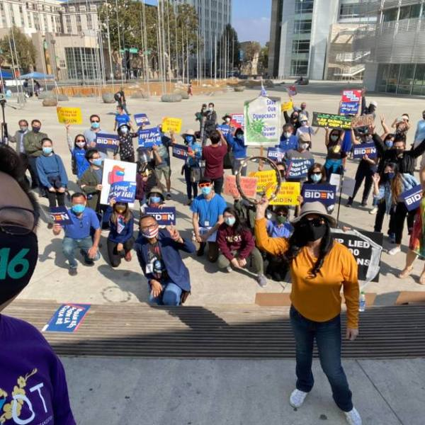 Philip Nguyen, an Asian American studies professor at San Francisco State, takes a selfie while speaking at a San Jose rally for Vietnamese American progressives who support the Biden-Harris ticket in 2020. (Philip Nguyen via Los Angeles Times)