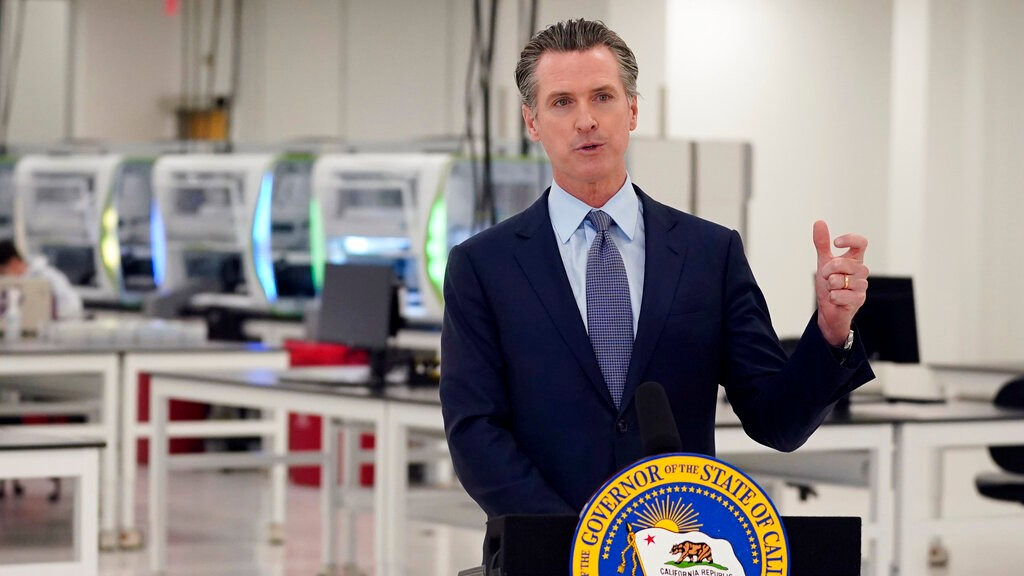In this Oct. 30, 2020, file photo, California Gov. Gavin Newsom speaks at a COVID-19 testing facility in Valencia, Calif. (AP Photo/Marcio Jose Sanchez, Pool, File)