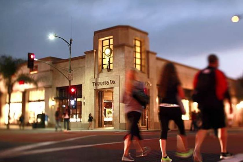 Tiffany & Co. sits along Colorado Boulevard in Old Pasadena. A man accused of driving his truck through a crowd of protesters in the area in May and charged with conspiring to violate firearms laws has been released on bond.(Jay L. Clendenin / Los Angeles Times)
