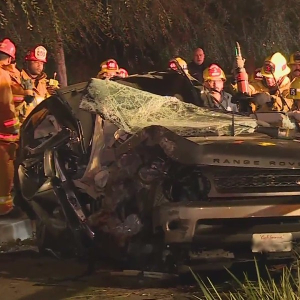 Emergency crews respond to a fatal crash in Exposition Park on Nov. 12, 2020. (RMG News)
