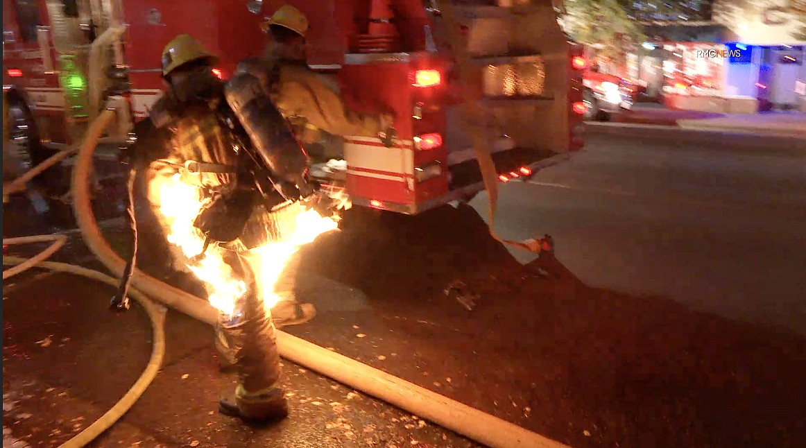 A firefighter was nearly engulfed in flames while battling a blaze that broke out in Sherman Oaks on Nov. 23, 2020. (RMG News)