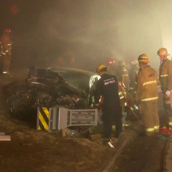 Emergency crews respond to a fatal crash on the 110 Freeway in South Los Angeles on Nov. 23, 2020. (OnScene.TV)