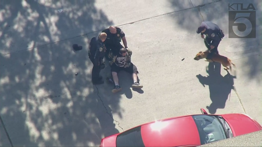 Officers detain a person in Wilmington after he led them on a pursuit on Nov. 11, 2020. (Sky5)