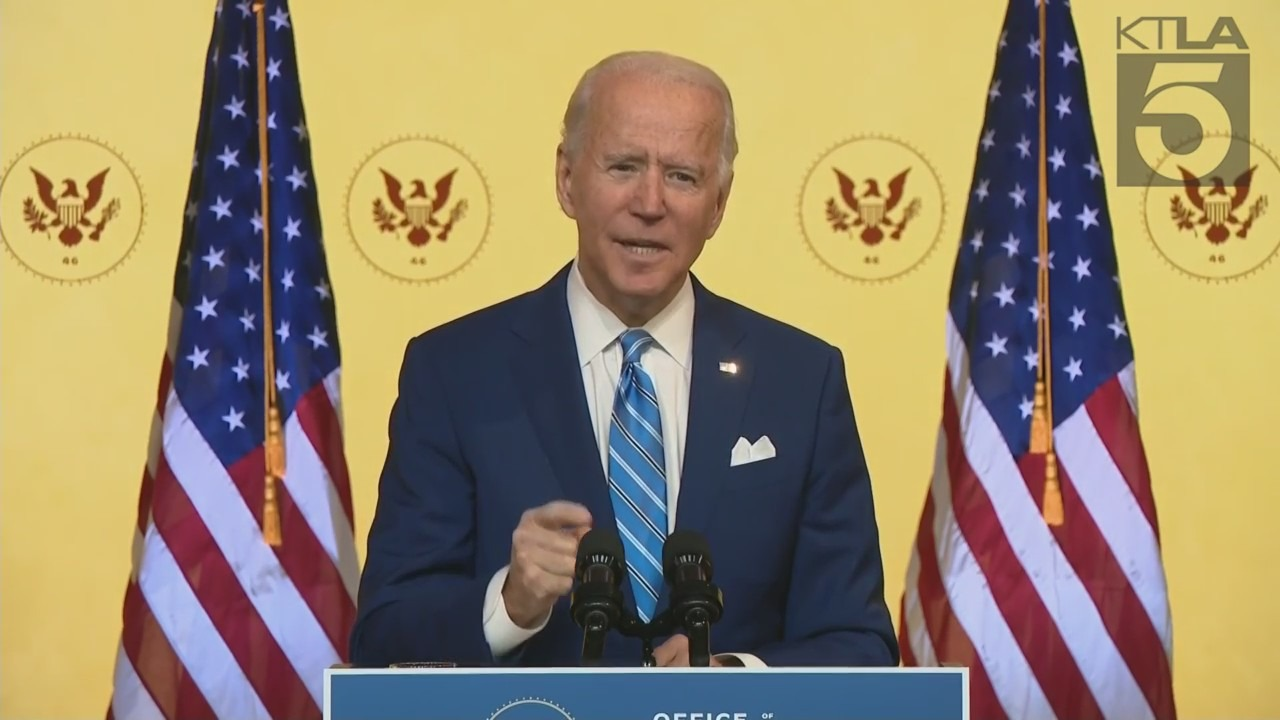 President-elect Joe Biden delivers a pre-Thanksgiving speech on Nov. 25, 2020. (KTLA)