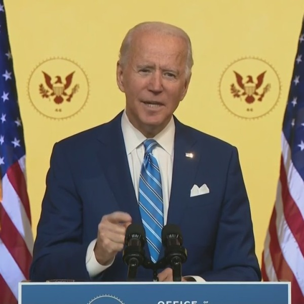 President-elect Joe Biden delivers a pre-Thanksgiving speech on Nov. 25, 2020. (KTLA)