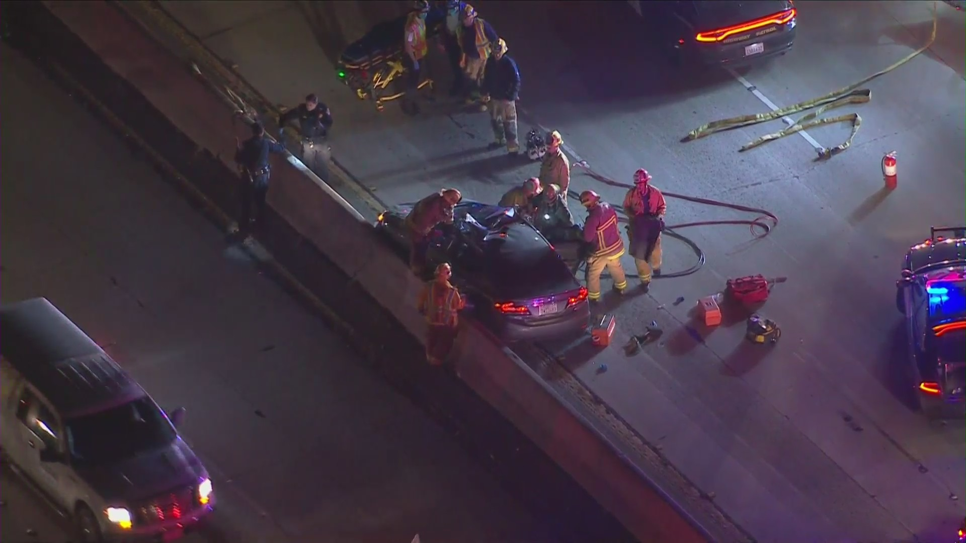Emergency crews respond to an injury crash in East Los Angeles on Nov. 24, 2020. (KTLA)