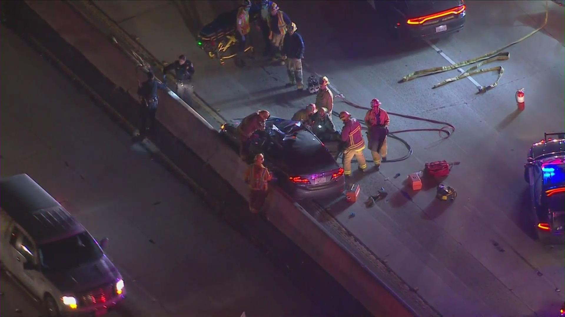 Emergency crews respond to an injury crash in East Los Angeles on Nov. 24, 2020. (KTLA)