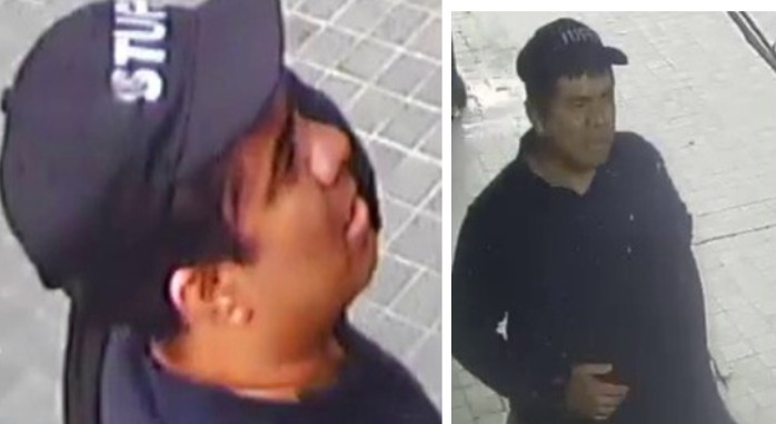 These two images show a man who LAPD officials say stabbed a downtown L.A. jewelry store owner to death on Nov. 3, 2020. The images were released by LAPD on Nov. 25.