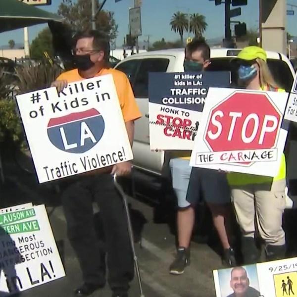 A rally for safer streets in Los Angeles on Nov. 15, 2020. (KTLA)