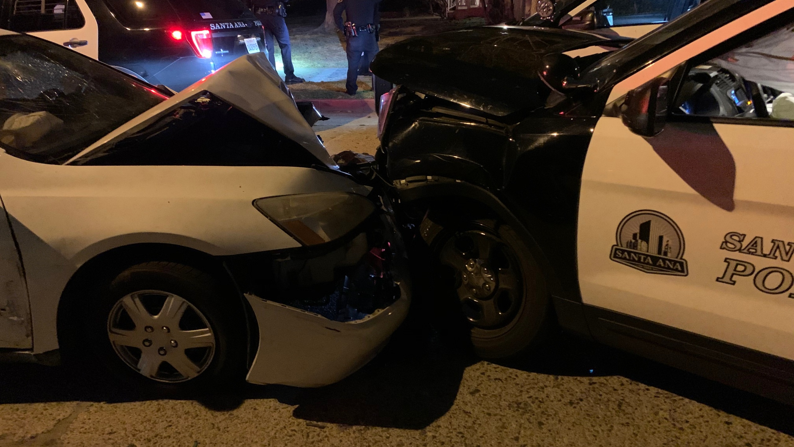 Police say a vehicle struck a parked police unit on Nov. 20, 2020, in Santa Ana.(Santa Ana Police Department)