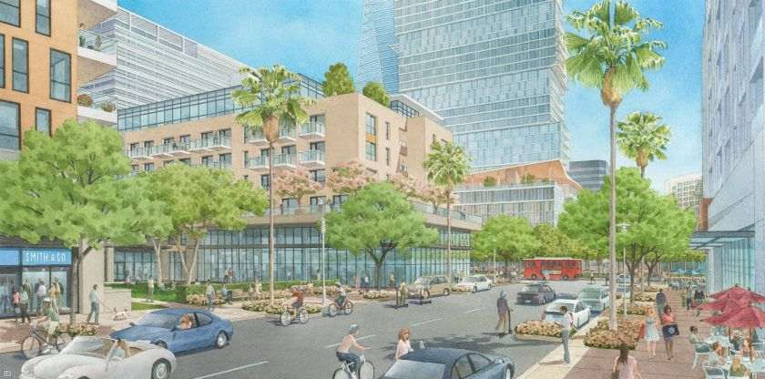 A developer won approval on Dec. 2, 2020, to build a mixed-use project in Warner Center with hotels, a sports arena, an office tower and more than 1,400 homes. (Unibail-Rodamco-Westfield via L.A. Time)