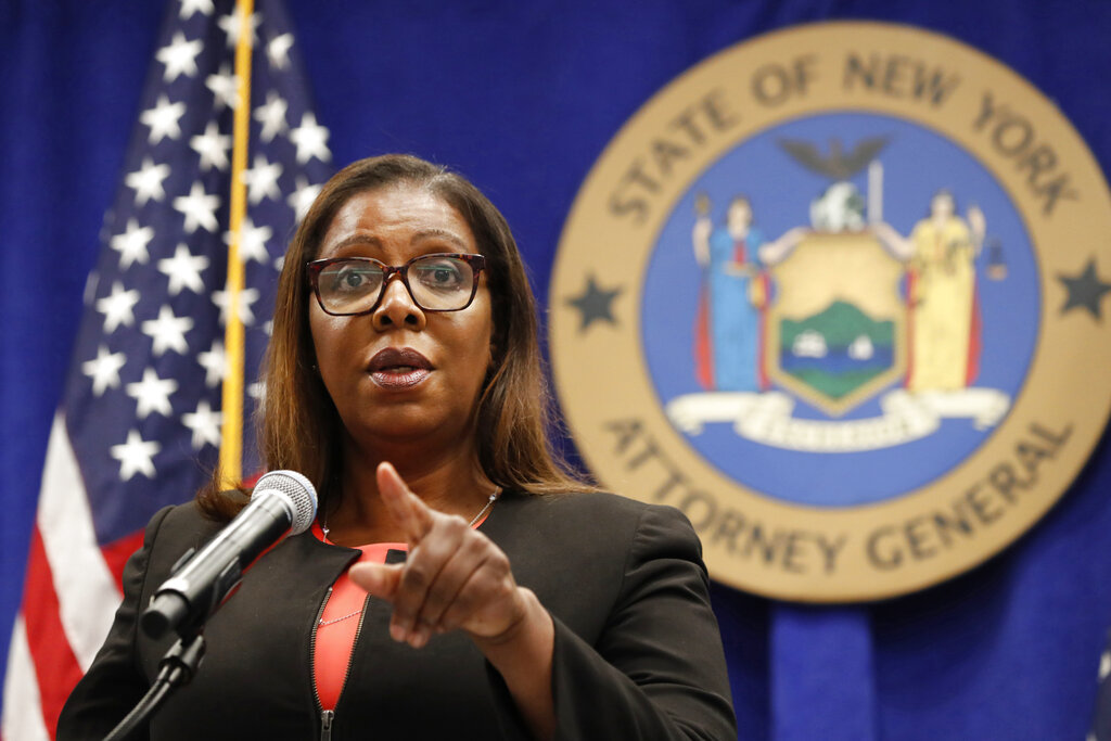 In this Aug. 6, 2020 file photo, New York State Attorney General Letitia James takes a question at a news conference in New York. (AP Photo/Kathy Willens, File)