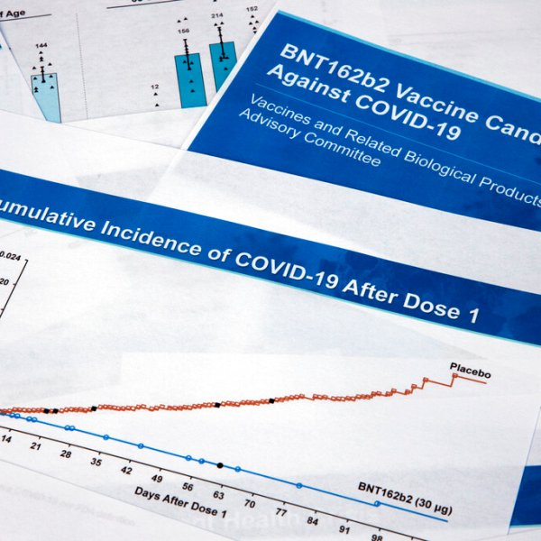 Documents created by Pfizer for the meeting with the Food and Drug Administration advisory panel, as Pfizer seeks approval for emergency use of their COVID-19 vaccine, are seen on Thursday, Dec. 10, 2020. (Jon Elswick/AP Photo)