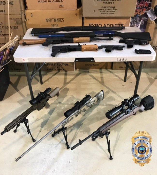 Long Beach police released this photo of firearms seized during a search warrant in the Florence-Firestone neighborhood of South L.A. on Dec. 11, 2020.