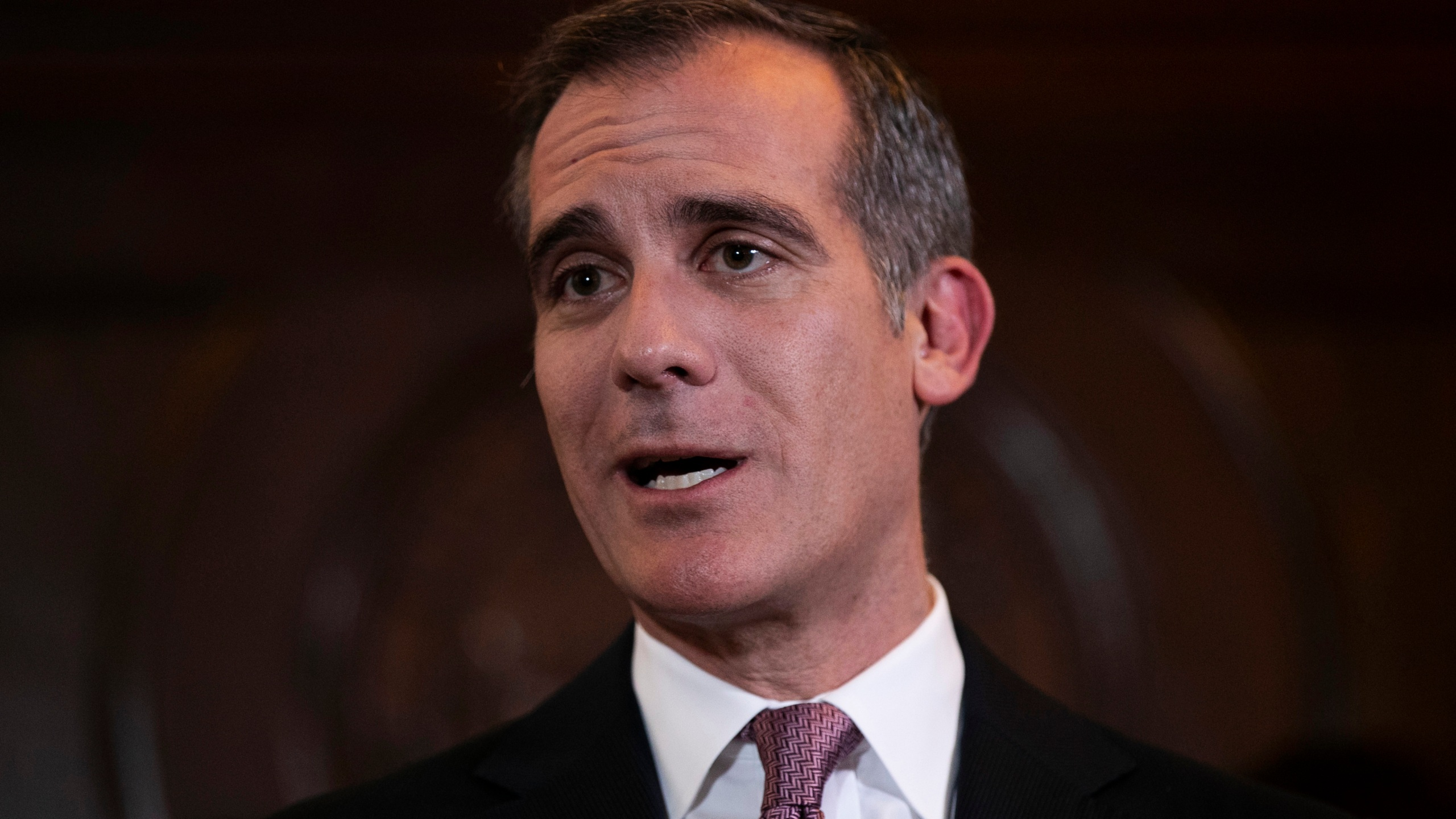 Los Angeles Mayor Eric Garcetti speaks during a news conference Tuesday, Jan. 29, 2019, in Los Angeles. (Jae C. Hong / Associated Press)
