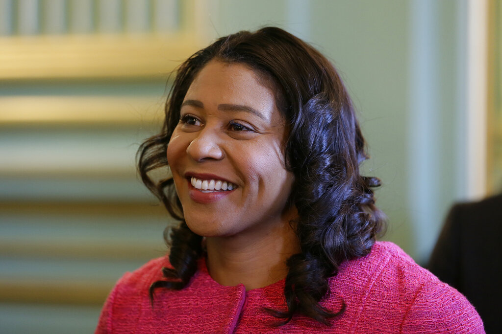 In this Nov. 1, 2019, file photo, San Francisco Mayor London Breed waits to speak at a luncheon in San Francisco. (AP Photo/Eric Risberg, File)