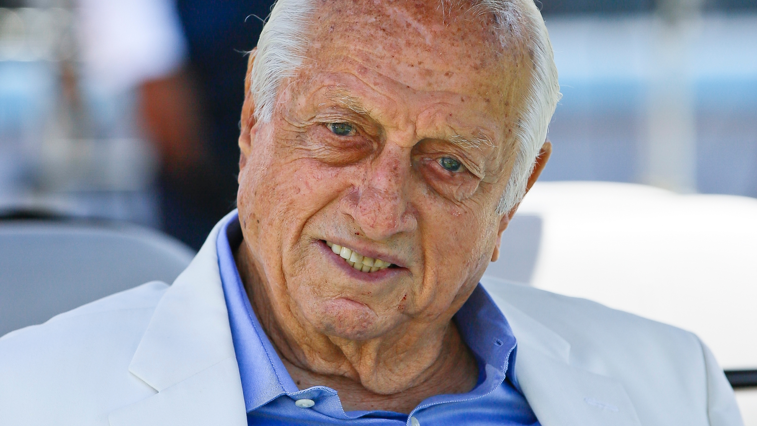 Los Angeles Dodgers former manager and Hall of Famer Tommy Lasorda attends a news conference where Baseball Commissioner Rob Manfred announced that Dodger Stadium will host the All-Star Game in 2020, in Los Angeles, in this Wednesday, April 11, 2018, file photo. The Dodgers said Sunday, Nov. 15, 2020, that their 93-year-old former manager was in intensive care and resting comfortably at a hospital in Orange County, Calif. (AP Photo/Damian Dovarganes)