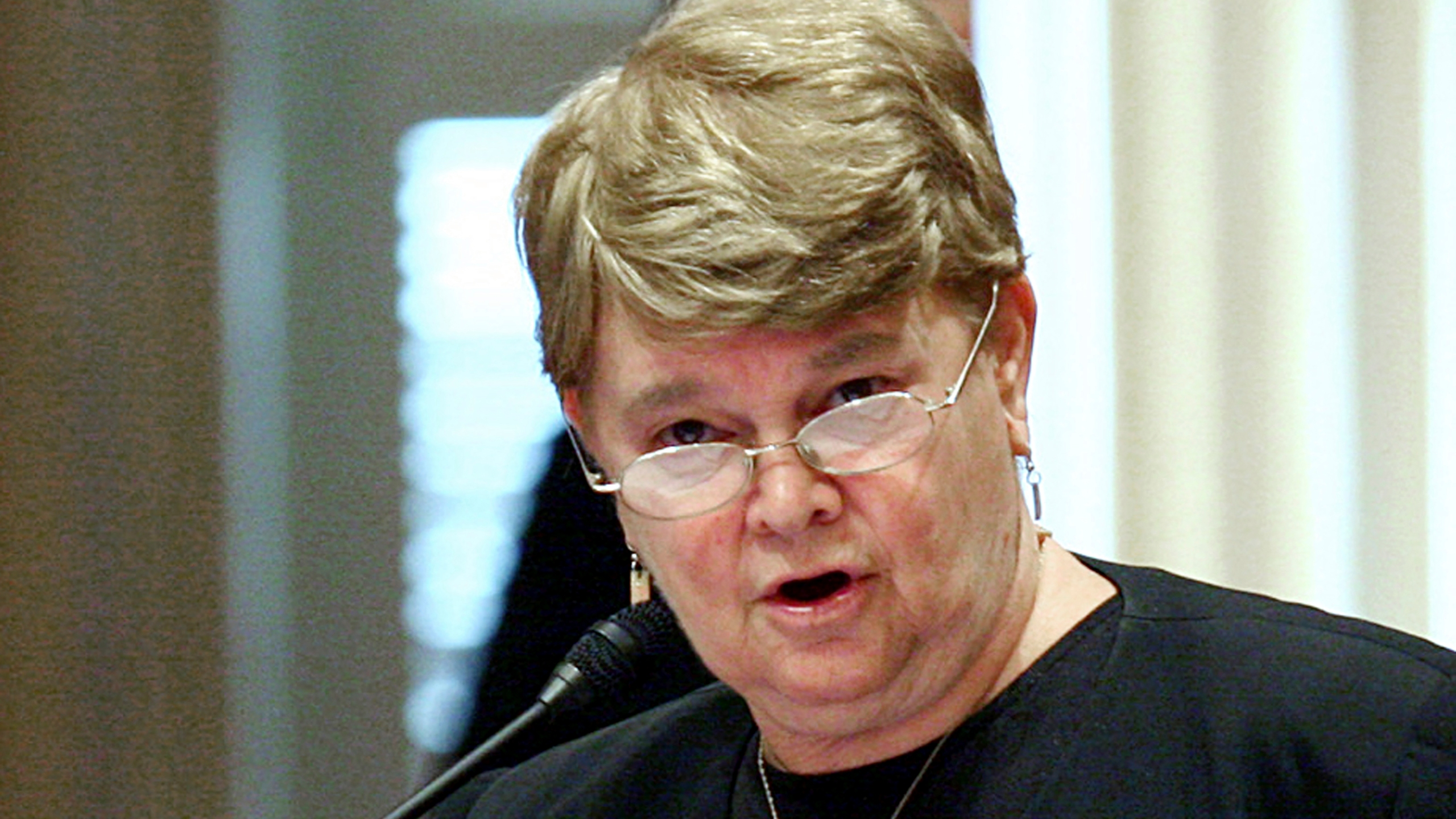 In this Aug. 31, 2008, file photo, then-state Sen. Sheila Kuehl, D-Santa Monica, speaks on the floor of the Capitol in Sacramento, Calif. (AP Photo/Steve Yeater, File)