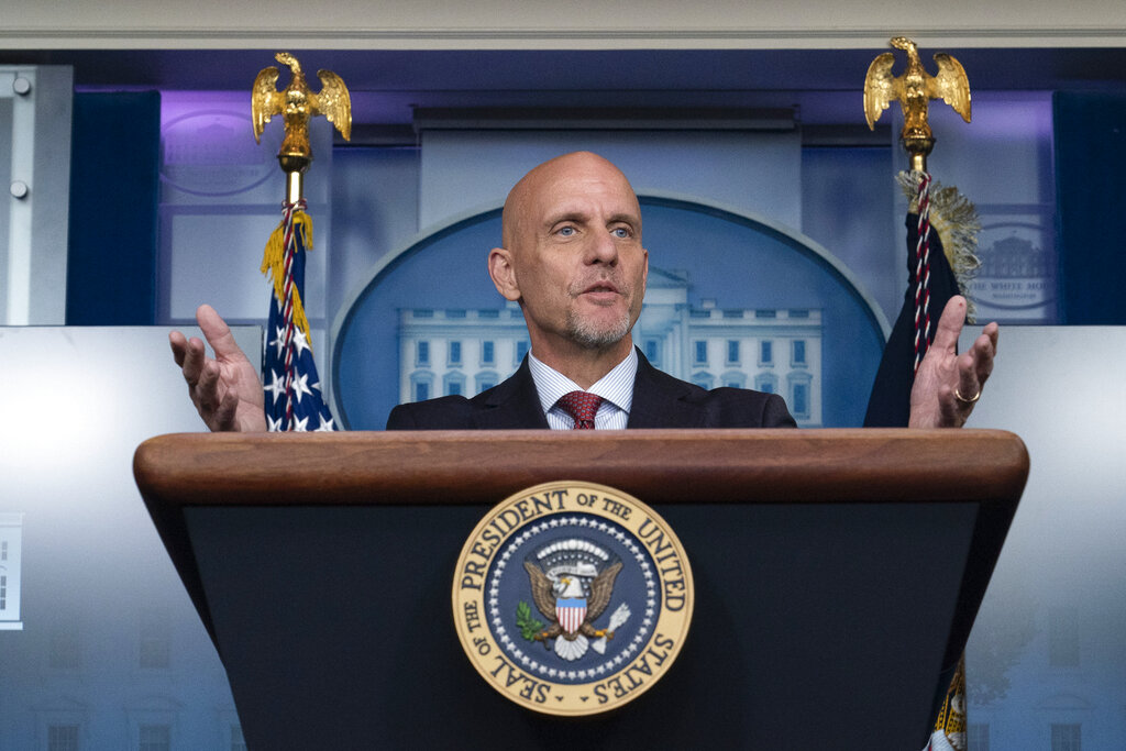 In this Aug. 23, 2020, file photo Food and Drug Administration commissioner Dr. Stephen Hahn speaks during a media briefing in the James Brady Briefing Room of the White House in Washington. (AP Photo/Alex Brandon, File)