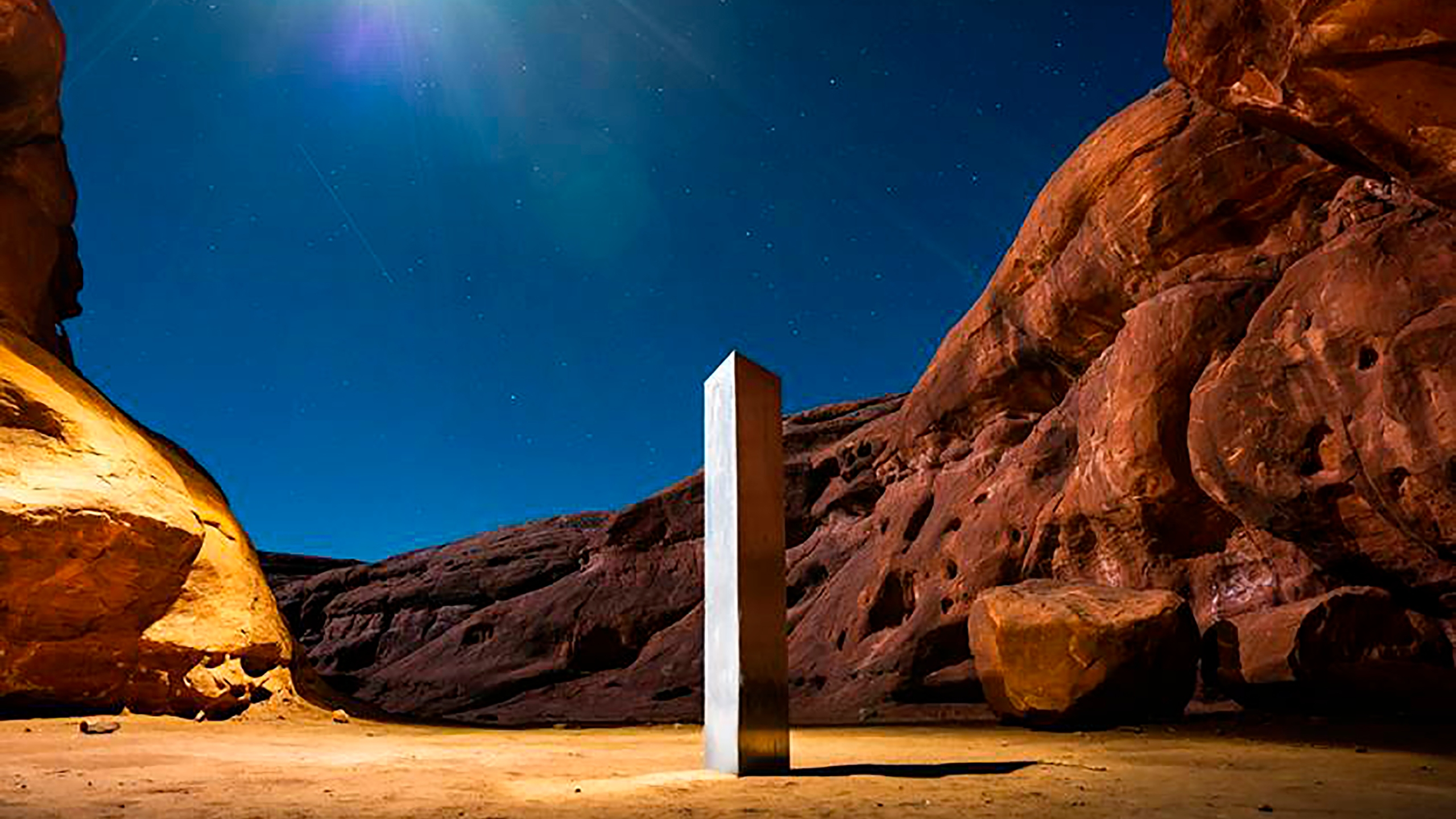This Nov. 27, 2020, photo by Terrance Siemon shows a monolith that was placed in a red-rock desert in an undisclosed location in San Juan County southeastern Utah. (Terrance Siemon via Associated Press)