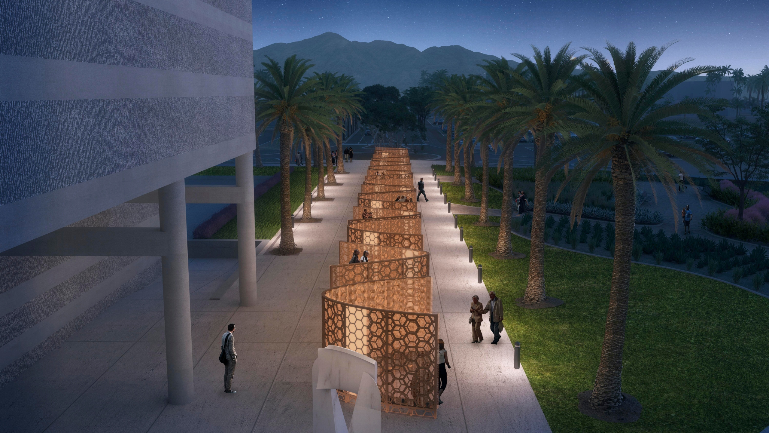 "A concept rendering shows a future memorial in honor of the survivors of a terrorist attack that killed 14 people at a holiday party in San Bernardino, Calif. Plans were formally announced, Wednesday, Dec. 2, 2020, to build a ""Curtain of Courage"" at the site. The memorial, designed by noted Oakland architect Walter Hood, will consist of 14 alcoves — one for each of the dead — created by a series of curving bronze and steel honeycomb-mesh panels with colored glass pieces. (County of San Bernardino via AP)"