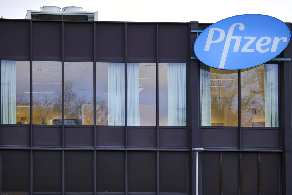 In this Dec. 4, 2020 file photo, a general view of the Pfizer Manufacturing plant in Puurs, Belgium. (AP Photo/Olivier Matthys)