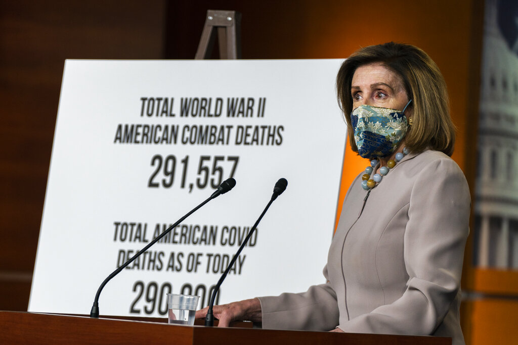House Speaker Nancy Pelosi of Calif., speaks during a news conference at the Capitol on Dec. 10, 2020, in Washington. (AP Photo/Manuel Balce Ceneta)