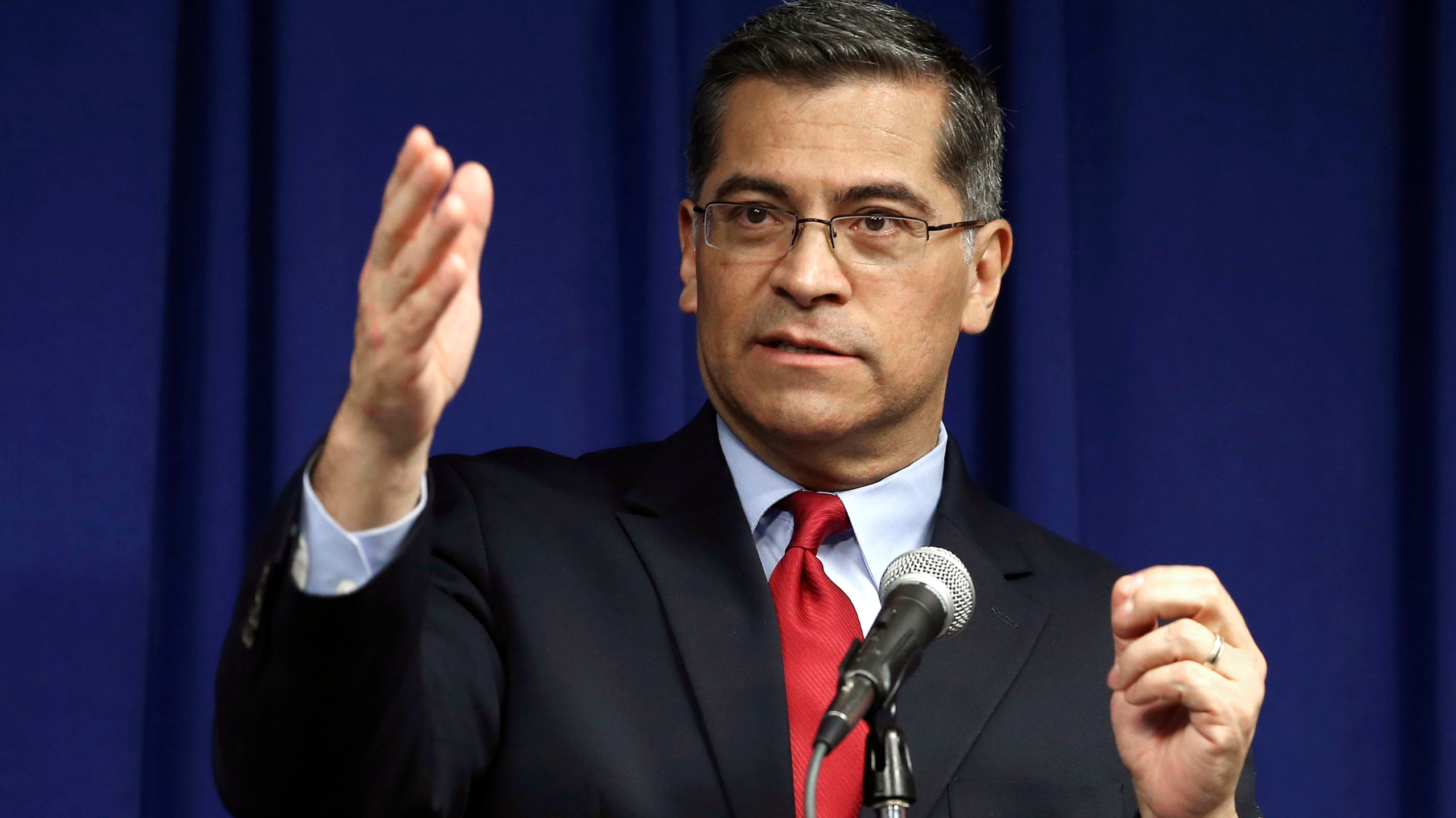 In this March 5, 2019, file photo, California Attorney General Xavier Becerra speaks during a news conference in Sacramento, Calif. (Rich Pedroncelli/AP Photo)