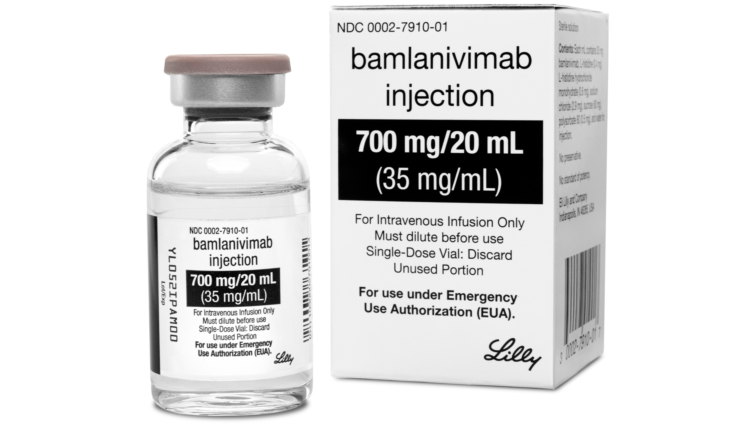 This photo provided by Eli Lilly shows the drug Bamlanivimab, the first antibody drug to help the immune system fight COVID-19. (Courtesy of Eli Lilly via AP)
