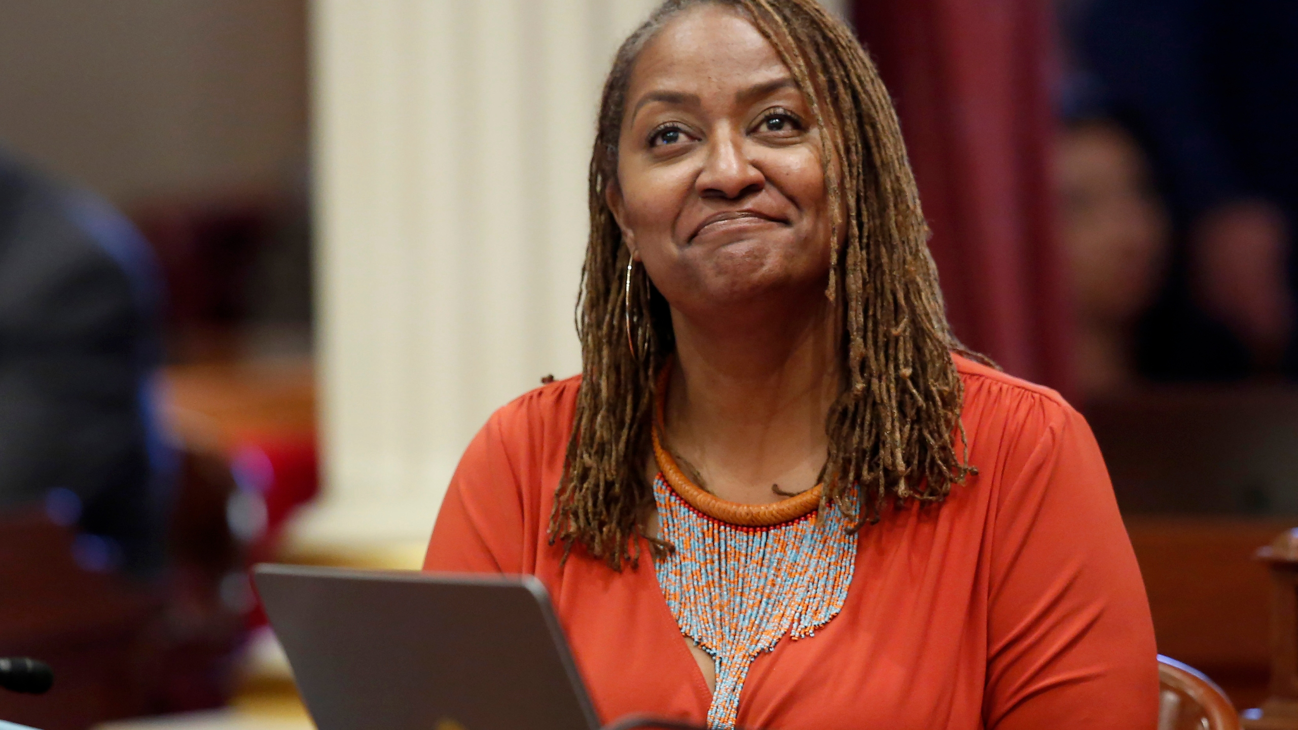 In this July 8, 2019 file photo, state Sen. Holly Mitchell, D-Los Angeles, reacts in the Senate chamber in Sacramento, Calif. (Rich Pedroncelli/AP Photo)