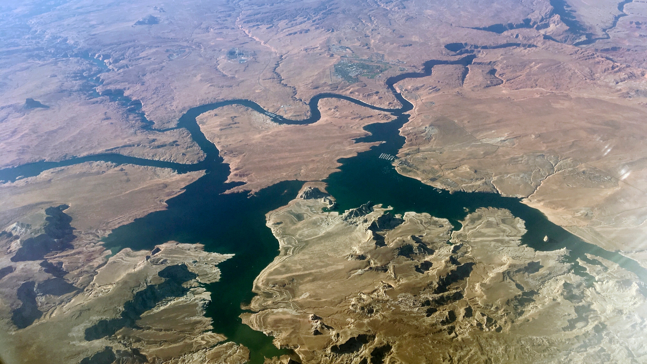 In this Sept. 11, 2019, file photo, is an aerial view of Lake Powell on the Colorado River along the Arizona-Utah border. (John Antczak/AP Photo)