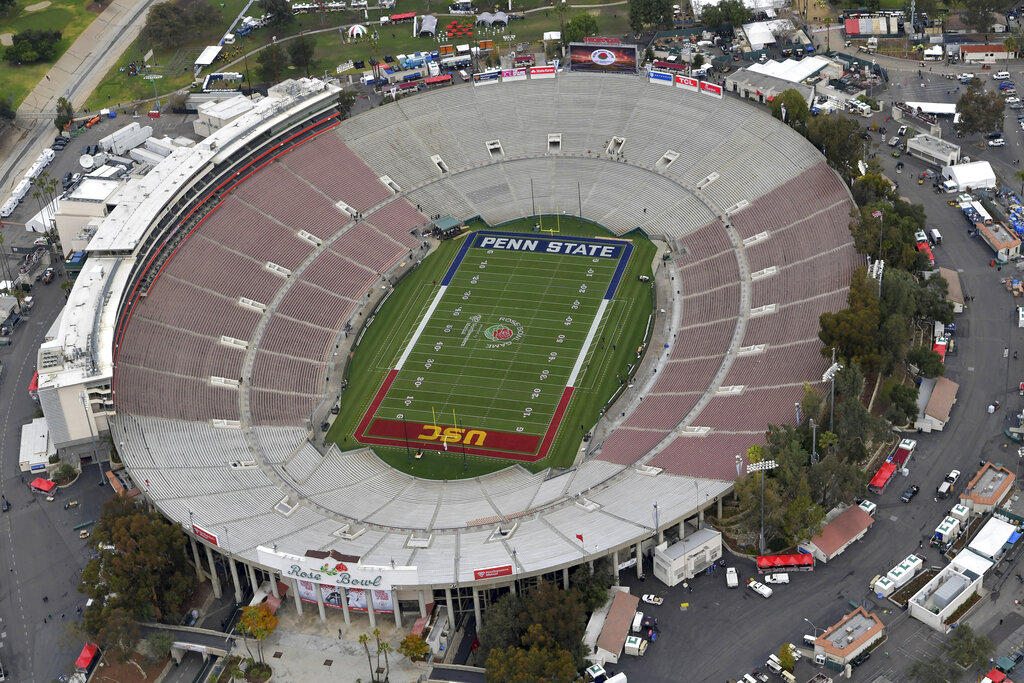 This Jan. 2, 2017, file pool photo, shows an aerial view of the empty Rose Bowl stadium before to the Rose Bowl NCAA college football game between Southern California and Penn State in Pasadena. (The Tournament of Roses via AP, Pool, File)