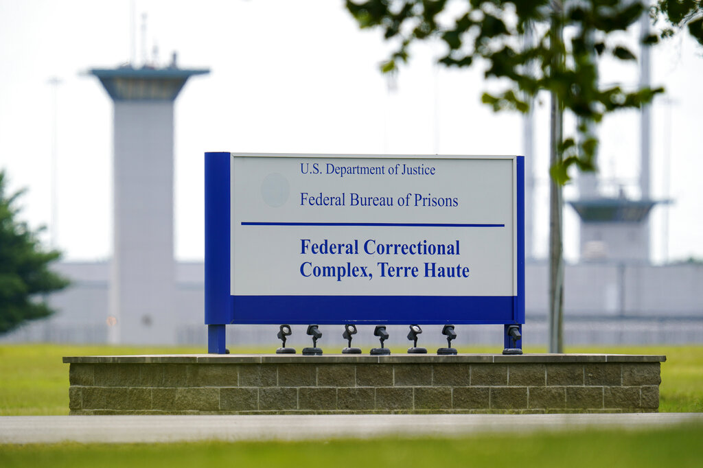 The federal prison complex in Terre Haute, Ind., is seen on Aug. 28, 2020. (Michael Conroy / Associated Press)
