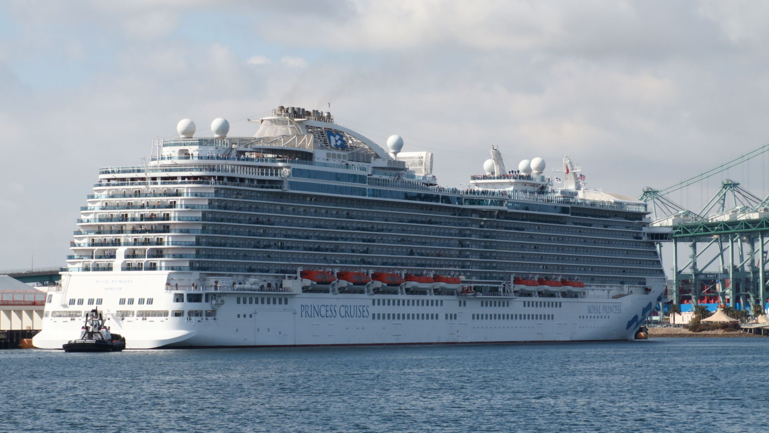The Royal Princess ship, of the Princess Cruise line, is seen in the Port of Los Angeles World Cruise Center in San Pedro, California on April 20, 2019. (Daniel Slim/AFP via Getty Images)