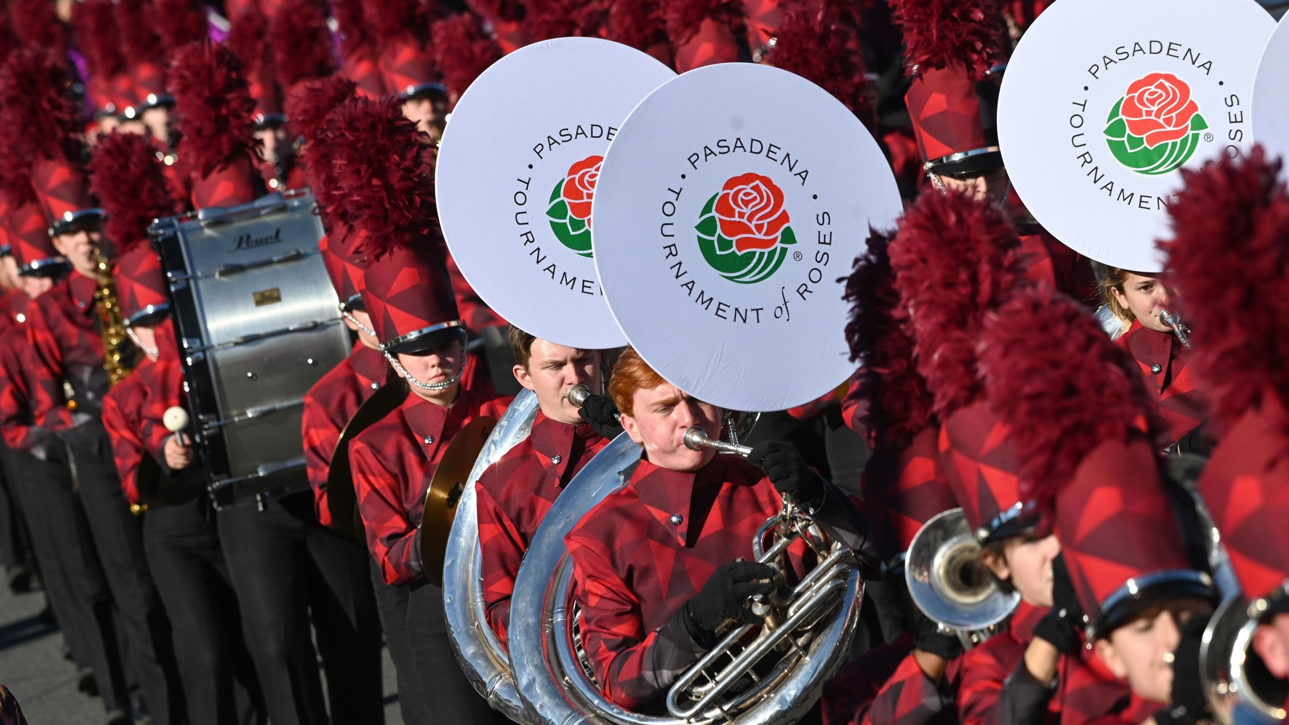 A marching band participates in the 131st Rose Parade in Pasadena, California, Jan. 1, 2020. (ROBYN BECK/AFP via Getty Images)