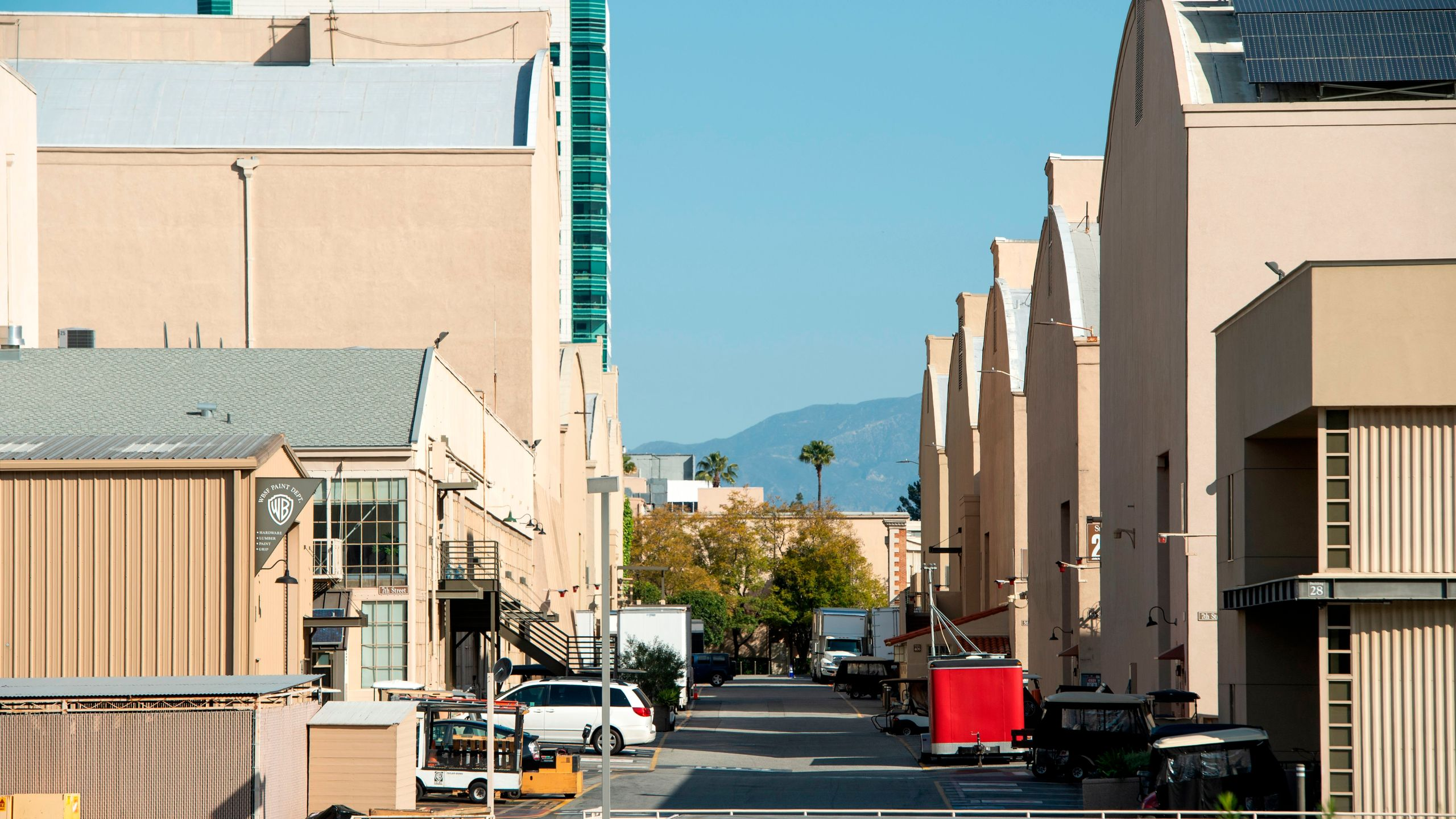 View of an empty street between sets in the Warner Bros lot during the pandemic on April 2, 2020 in North Hollywood. (VALERIE MACON/AFP via Getty Images)