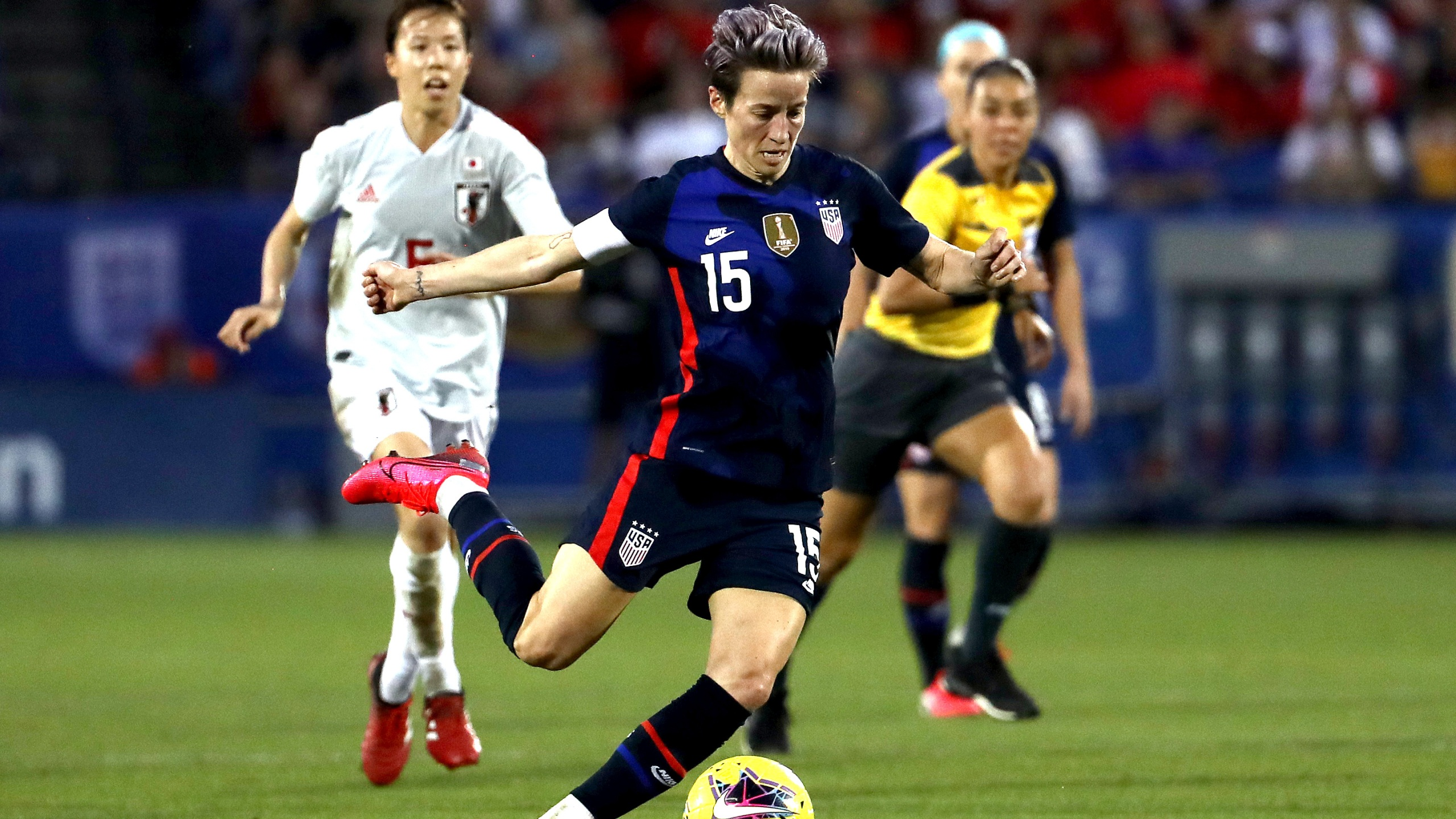 Megan Rapinoe #15 of the United States controls the ball against Japan during the first half of the 2020 SheBelieves Cup at Toyota Stadium on March 11, 2020 in Frisco, Texas. (Ronald Martinez/Getty Images)
