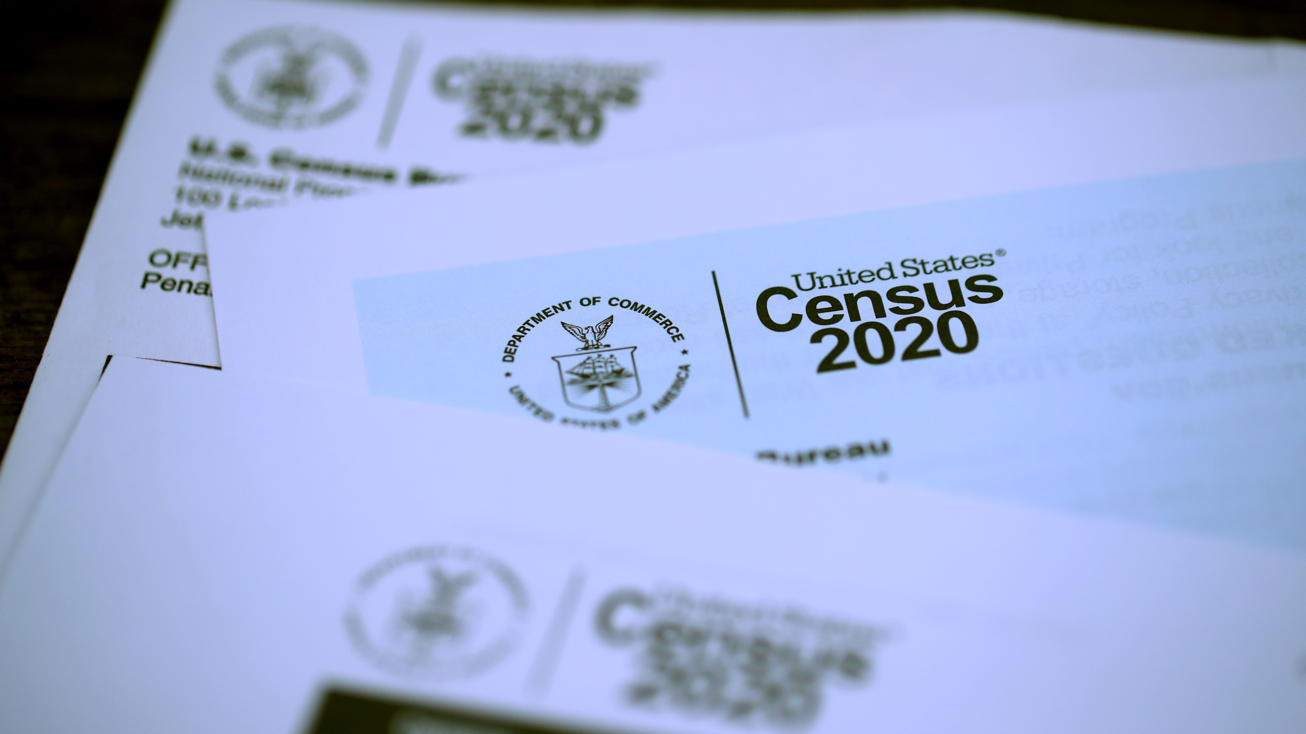 The U.S. Census logo appears on census materials received in the mail with an invitation to fill out census information online on March 19, 2020, in San Anselmo, California. (Justin Sullivan/Getty Images)