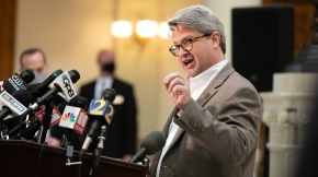 Gabriel Sterling, Voting Systems Manager for the Georgia Secretary of State's office, answers questions during a press conference on the status of ballot counting on November 6, 2020 in Atlanta, Georgia. (Jessica McGowan/Getty Images)