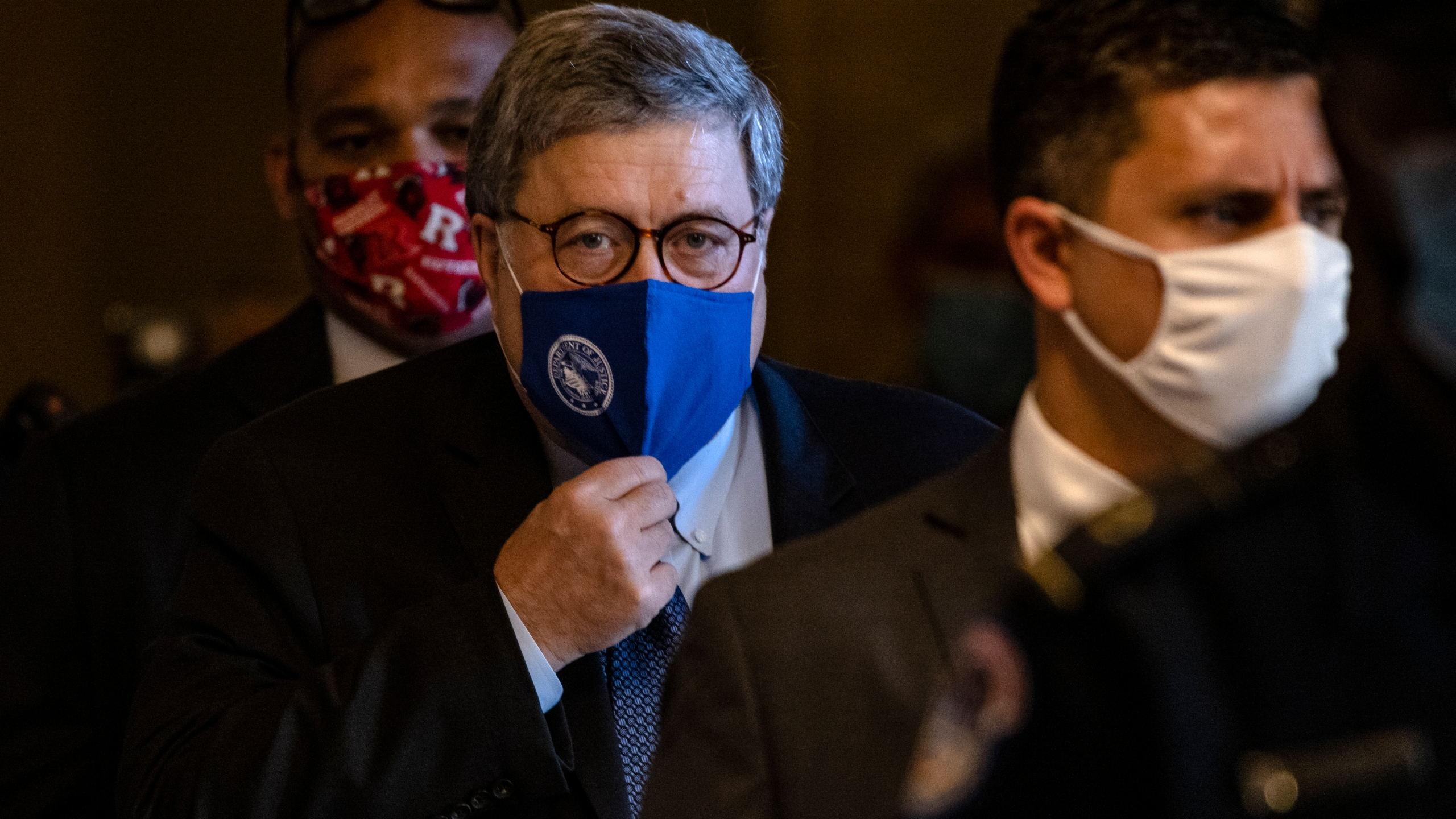 Attorney General Bill Barr leaves the U.S. Capitol after meeting with Senate Majority Leader Mitch McConnell in his office on Nov. 9, 2020. (Samuel Corum/Getty Images)