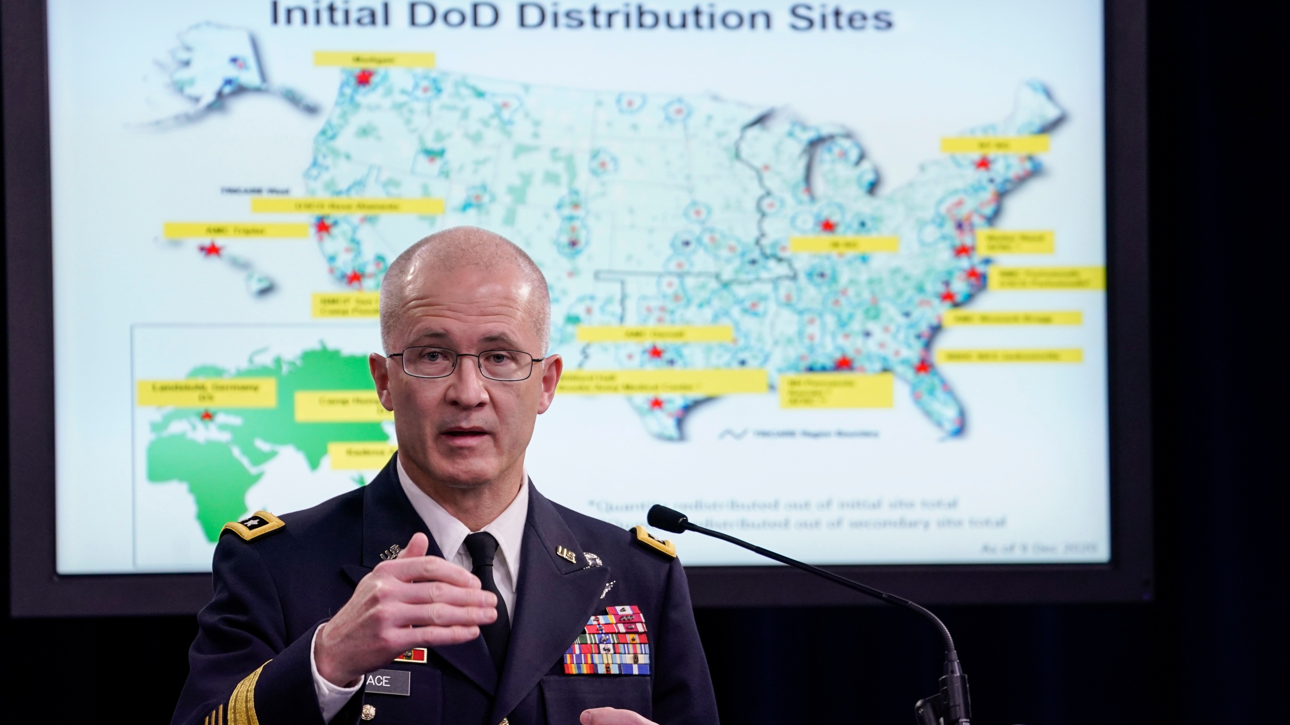 Director of the Defense Health Agency Army Lt. Gen. Ronald Place speaks to reporters during a press conference to discuss plans for COVID-19 vaccine distribution to members of the U.S. military, at the Pentagon on Dec. 9, 2020 in Arlington, Virginia. (Drew Angerer/Getty Images)