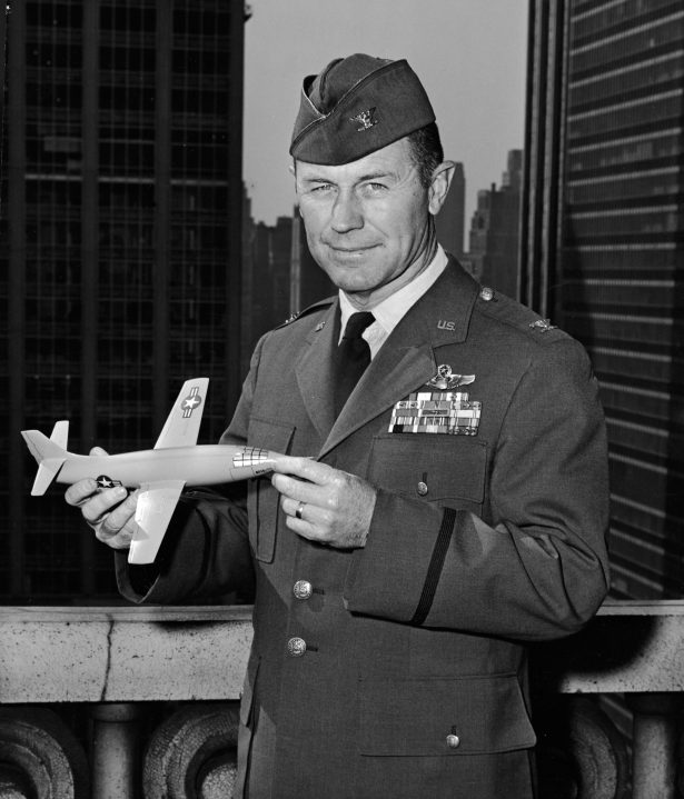 "American Air Force Colonel Charles ""Chuck"" Yeager holds a model of the Bell X-1 aircraft he flew in 1947 to become the first person to break the sound barrier, in New York City on Oct. 18, 1962. (Photo by Hulton Archive/Getty Images)"
