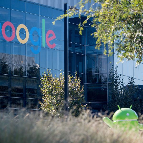 A Google logo and Android statue are seen at the Googleplex in Menlo Park, California on Nov. 4, 2016. (Josh Edelson/AFP via Getty Images)