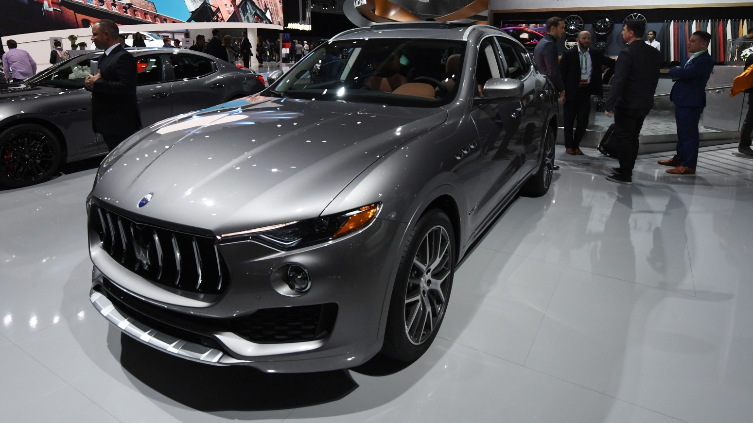 A Maserati SUV — not the one involved in the case, is seen in a file photo from the 2017 L.A. Auto Show in Los Angeles on Nov. 29, 2017. (MARK RALSTON/AFP via Getty Images)