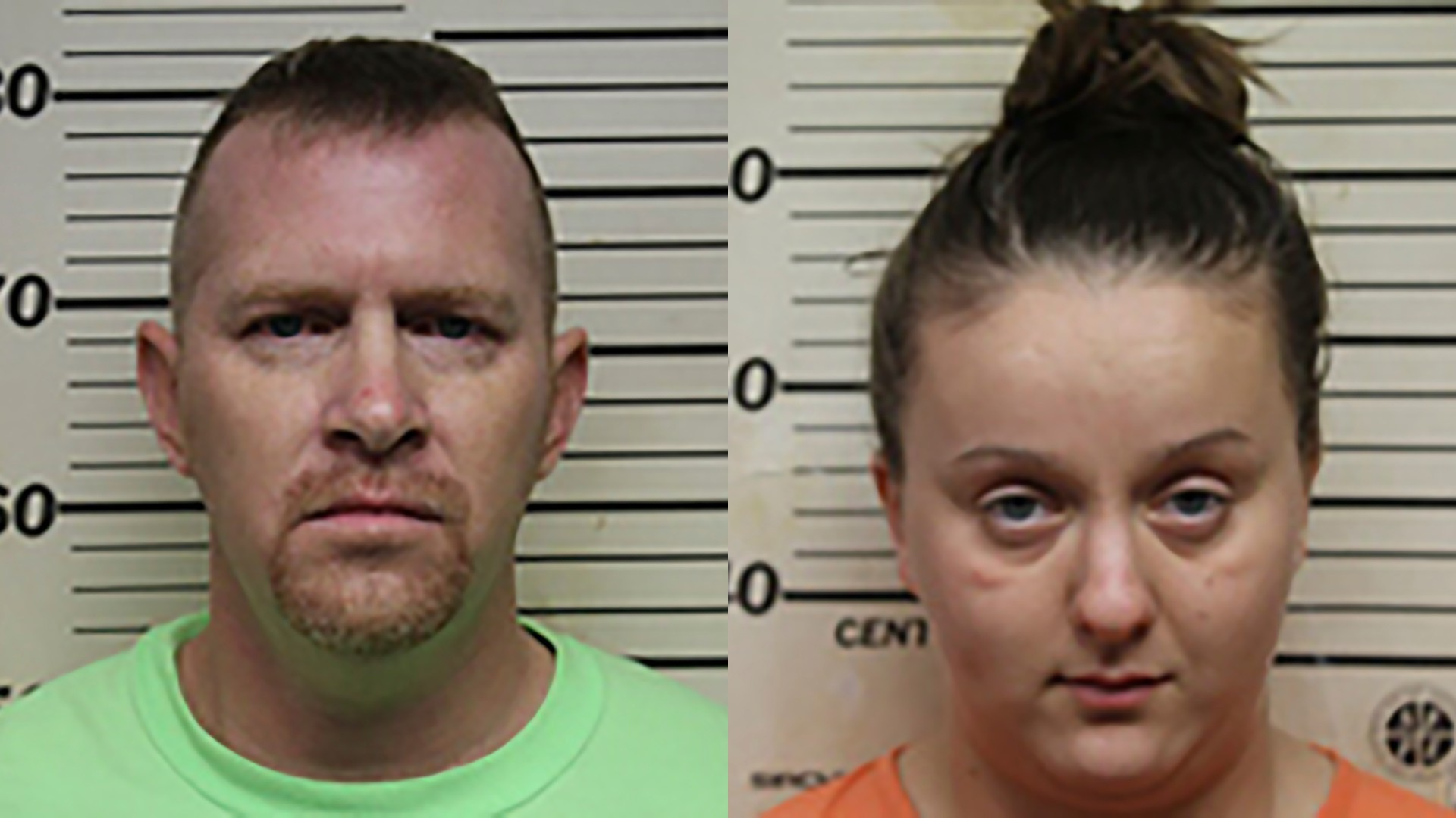 Ethan Mast, left, and Kourtney Aumen, right, are seen in booking photos released by the Benton County (Missouri) Sheriff's Department.