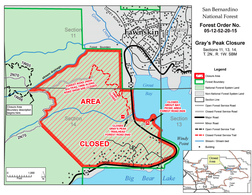 The U.S. Forest Service released this map of areas closed near Big Bear Lake effective Dec. 1, 2020.