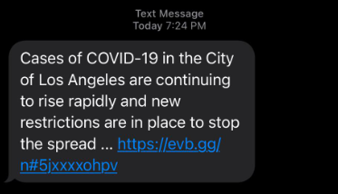 The city of Los Angeles sent out a text alert on Dec. 2, 2020.