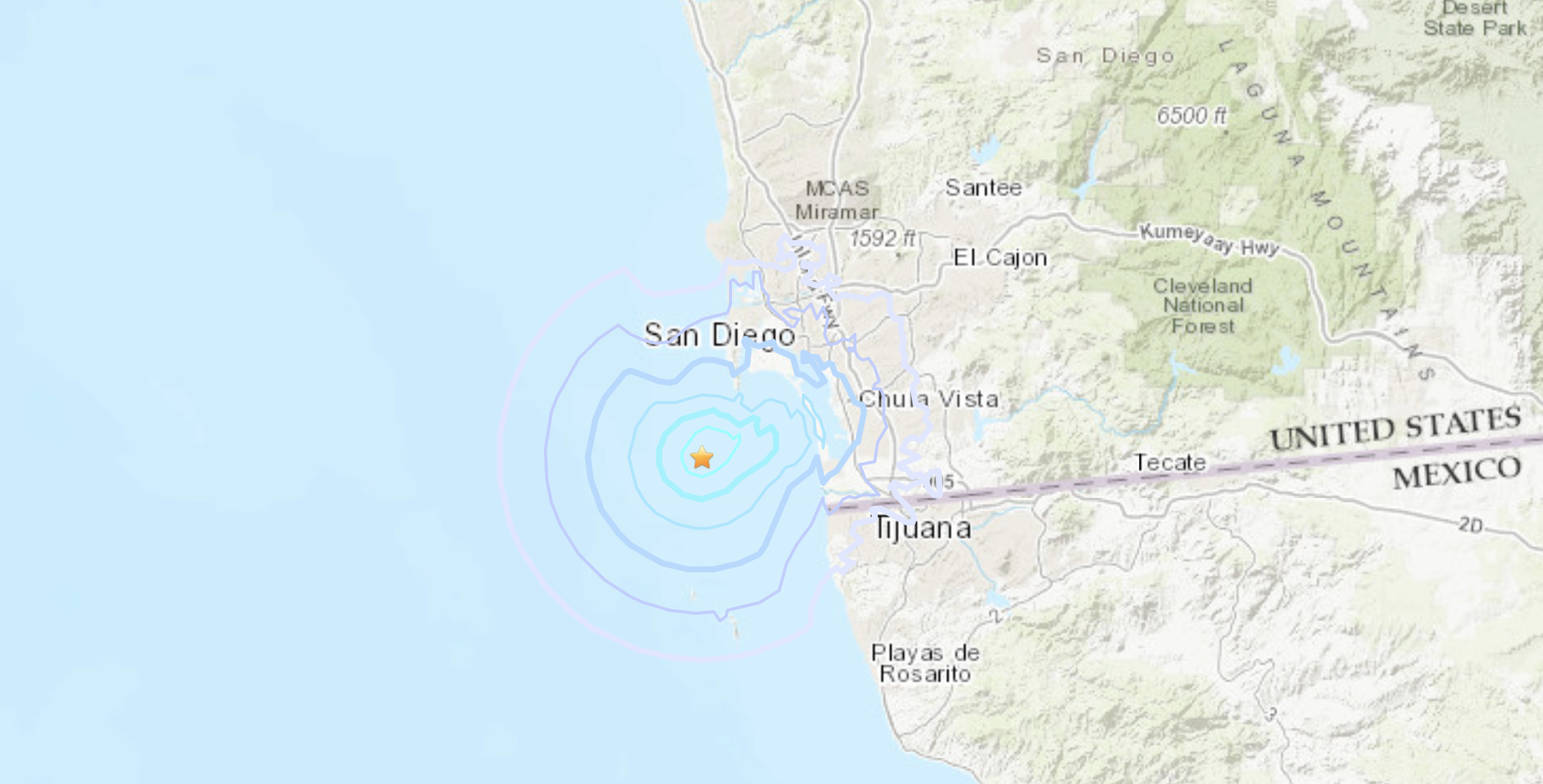 A magnitude 3.2 earthquake reported two miles from San Diego on Dec. 5, 2020. (USGS)